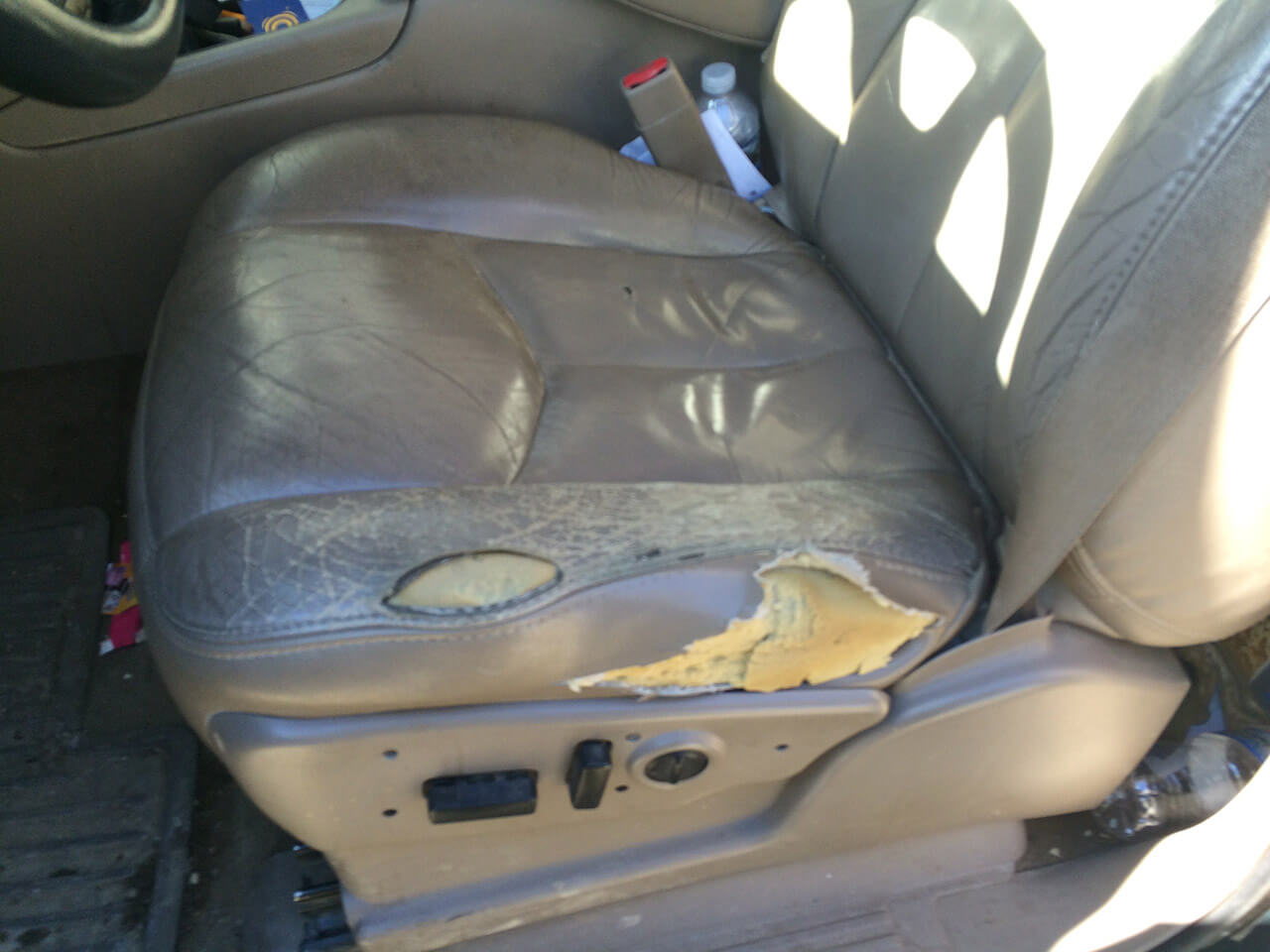Auto Artisans Inc - Before and After - Upholstery of a Van Seat - Before