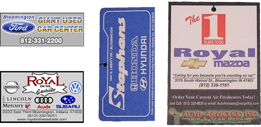 Auto Artisans Inc - Products - Customized Air Fresheners