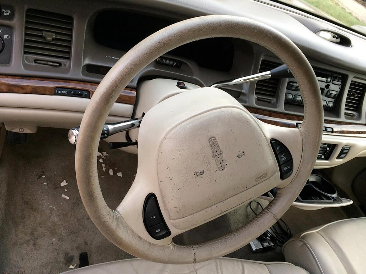 Auto Artisans Inc. - Interior Detailing - Steering Wheel Before