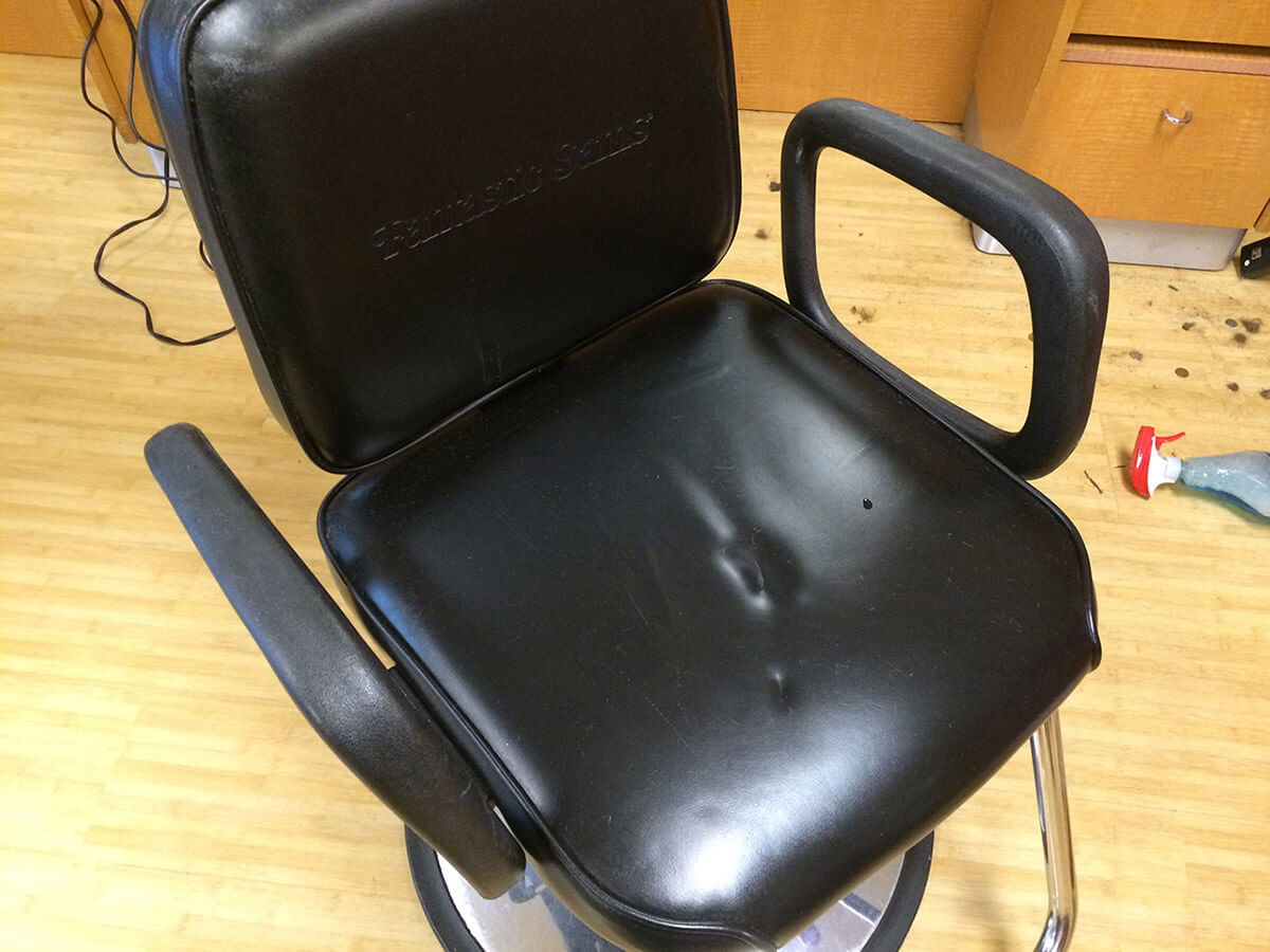 Auto Artisans Inc. - Leather Furniture Repair - Barber Chair Before
